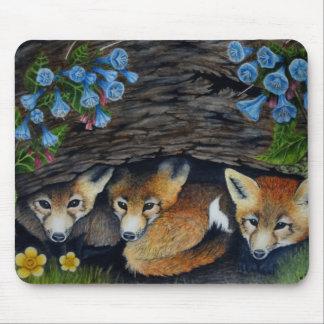 Mousepad de renards et de fleurs de bébé tapis de souris