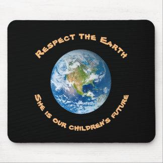 Mousepad des enfants de respect de la terre de tapis de souris