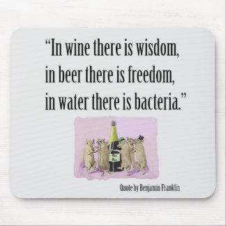 Mousepad drôle - Franklin, vin, bière et porcs Tapis De Souris
