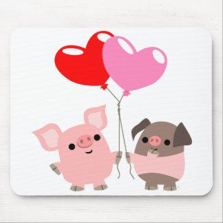 Mousepad embrouillé de coeurs (porcs de bande dess tapis de souris