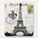 Mousepad français vintage de Tour Eiffel Tapis De Souris