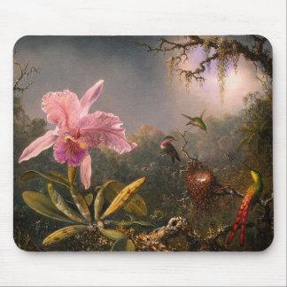 Mousepad Orchidée de Cattleya et trois colibris Tapis De Souris