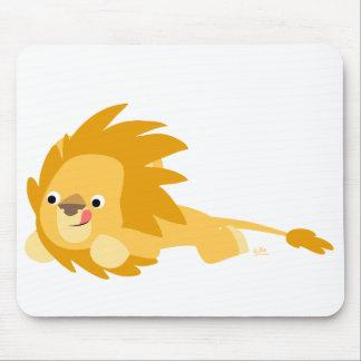 Mousepad plein d'entrain de lion de bande dessinée tapis de souris