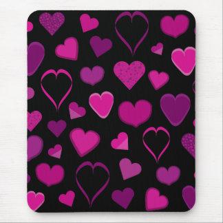 Mousepad rose et lilas de coeurs tapis de souris
