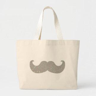 Moustache blanche de Bling (graphique de scintille Sac