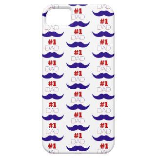 Moustache blanche du papa #1 et bleue rouge - étuis iPhone 5