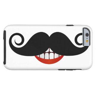 Moustache bouclée et sourire d'amusement coque tough iPhone 6