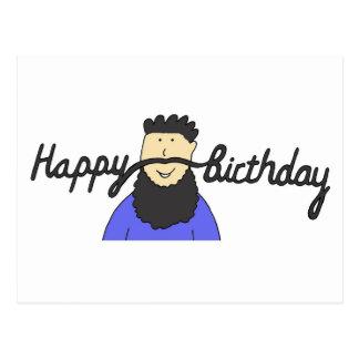 Moustache d'anniversaire pour le hippie carte postale