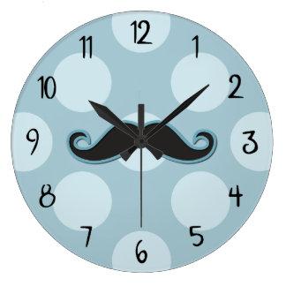 Moustache de guidon, pois - bleu noir grande horloge ronde
