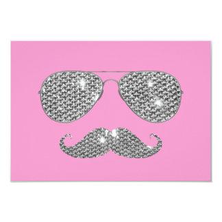 Moustache drôle de diamant avec des verres carton d'invitation 8,89 cm x 12,70 cm