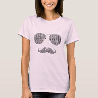 Moustache drôle de diamant avec des verres t-shirt