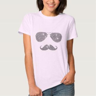 Moustache drôle de diamant avec des verres t-shirts