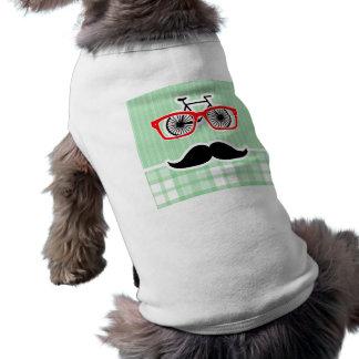 Moustache drôle, plaid vert manteaux pour animaux domestiques