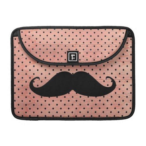 Moustache drôle sur l'arrière - plan rose mignon d poche pour macbook pro