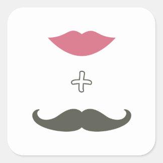 Moustache et joint élégants d'enveloppe de lèvres autocollant carré