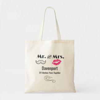 Moustache et lèvres M. et Mme - anniversaire Sacs De Toile