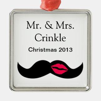 moustache et lèvres ornement carré argenté