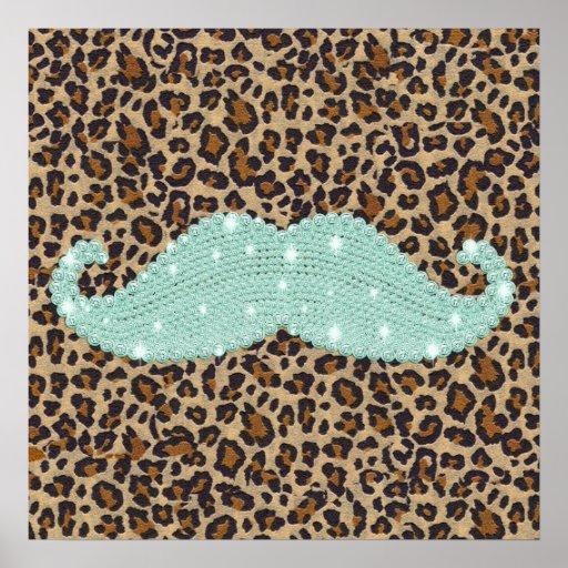 Moustache et poster de animal verts turquoises drô