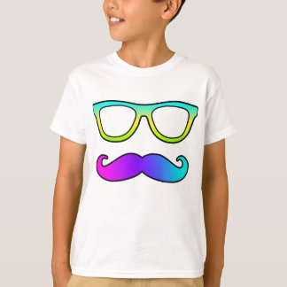 Moustache et verres colorés t-shirt