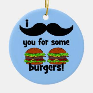 Moustache I vous pour quelques hamburgers ! Ornement Rond En Céramique