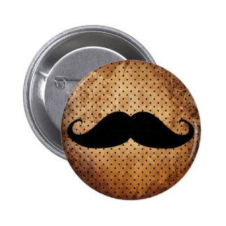 Moustache noire drôle badge rond 5 cm