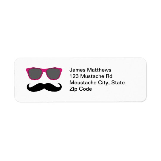 Moustache noire drôle et adresse de retour de lune étiquette d'adresse retour