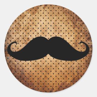Moustache noire drôle sticker rond
