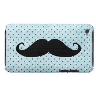 Moustache noire drôle sur le pois bleu turquoise étuis barely there iPod