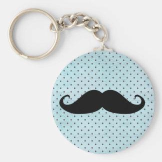 Moustache noire drôle sur le pois bleu turquoise porte-clé rond