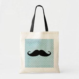 Moustache noire drôle sur le pois bleu turquoise sac en toile budget