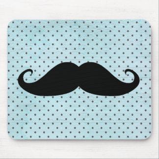 Moustache noire drôle sur le pois bleu turquoise tapis de souris