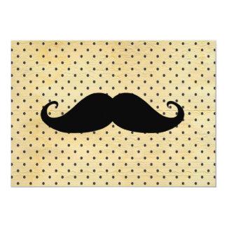 Moustache noire drôle sur le pois jaune vintage carton d'invitation  12,7 cm x 17,78 cm