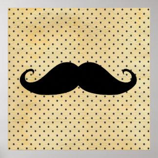 Moustache noire drôle sur le pois jaune vintage poster
