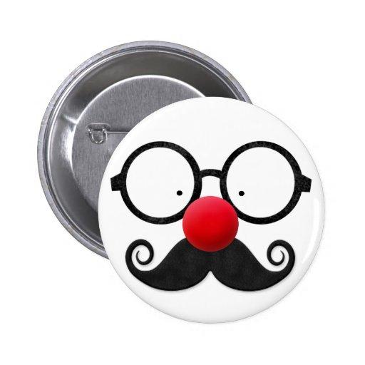 Moustache noire ronde en verre de nez rouge drôle  pin's