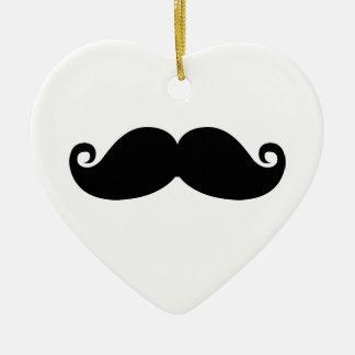 Moustache noire vintage drôle ornement cœur en céramique