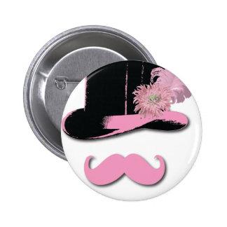 Moustache rose, chapeau supérieur, plumes, et fleu badge avec épingle