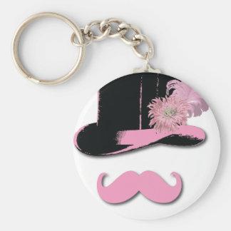 Moustache rose, chapeau supérieur, plumes, et fleu porte-clé rond