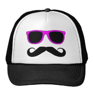 Moustache rose en verre rétro casquettes