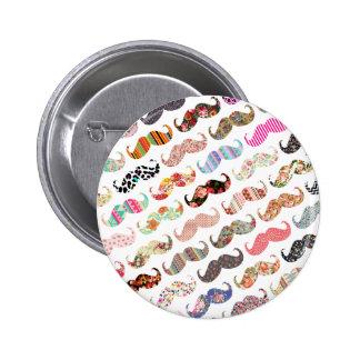 Moustaches colorées Girly drôles de motifs Badge Rond 5 Cm