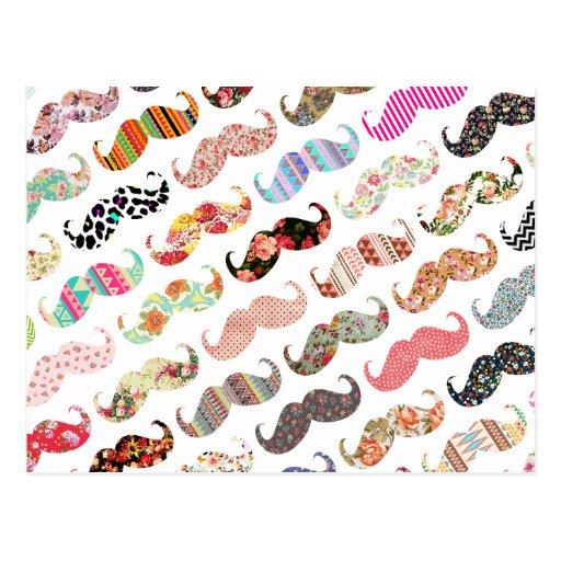 Moustaches colorées Girly drôles de motifs Carte Postale