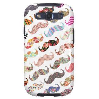 Moustaches colorées Girly drôles de motifs Étuis Galaxy S3