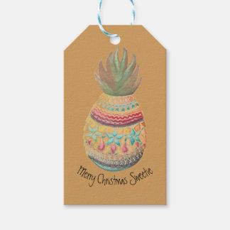 Moutarde douce d'étiquette de cadeau d'ananas étiquettes-cadeau
