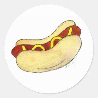 Moutarde grillée de hot-dog d'aliments de sticker rond