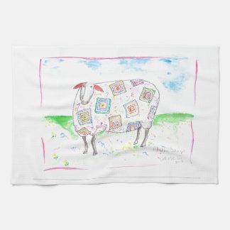 Moutons afghans sur un ensemble de serviettes de