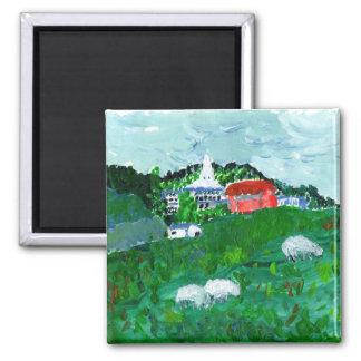 Moutons dans un aimant de paysage de la Nouvelle