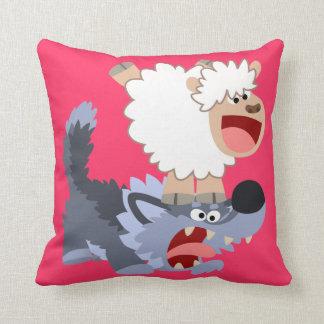 Moutons de bande dessinée et carreau espiègles oreiller