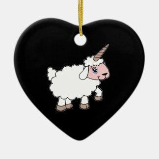 Moutons de licorne ornement cœur en céramique