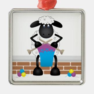Moutons de tricot pour la brebis ornement carré argenté