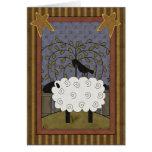 Moutons doux et Raven d'anniversaire Cartes De Vœux