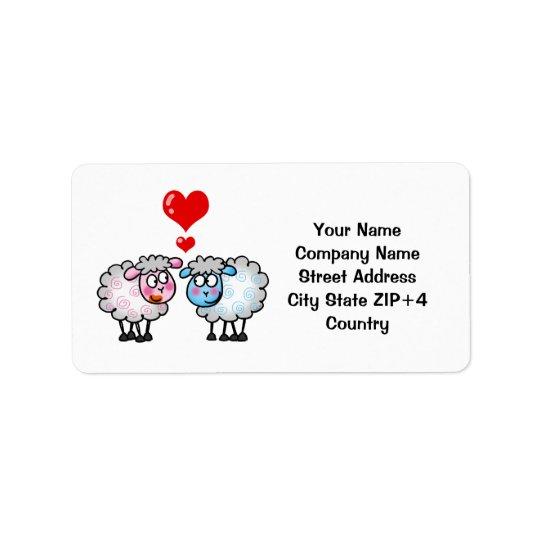 Moutons drôles de bande dessinée, épousant des étiquette d'adresse